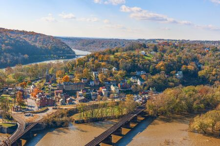 Colorful view of Harpers Ferry National Park from Maryland Heights in autumn.West Virginia.USA