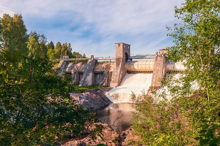 The Imatra Rapids (Imatrankoski) on the Vuoksi River in Imatra. National landscape of Finland. Start of water discharge from the dam during the rapid show Zdjęcie Seryjne