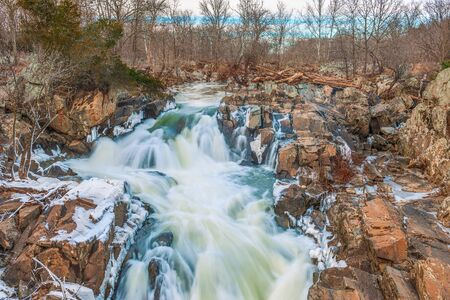 Winter view of Great Falls of the Potomac River. C&O Canal National Historical Park. Maryland. USA.02/014/2018