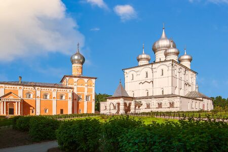 Transfiguration Cathedral and Church of St Varlaam of Hutyn. Khutyn Convent of Saviours Transfiguration and of St Varlaam. Veliky Novgorod. Russia