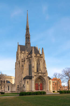 Pittsburgh, Pennsylvania, USA, February 20, 2017 - Heinz Memorial Chapel in the campus of the University of Pittsburgh 新聞圖片