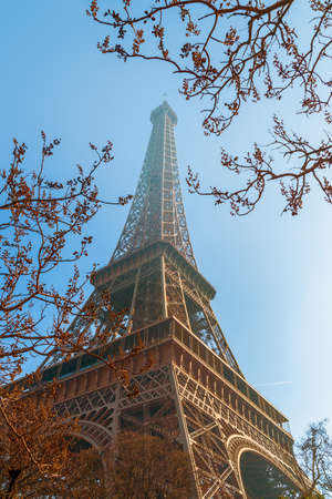 View of hazy Eiffel Tower in winter morning. Paris. France 版權商用圖片