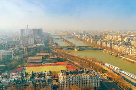 Aerial view of Seine river from the Eiffel tower on a winter morning. Paris. France