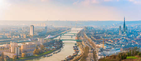 Panoramic aerial view of Rouen and Seine River. Normandy. France