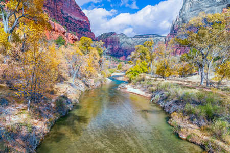 North Fork Virgin River in Zion National Park. Utah. USA 版權商用圖片