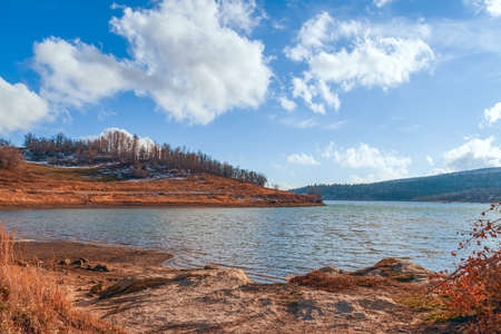 View of Kolob Reservoir near Zion National Park in autumn. Zion National Park. Utah. USA