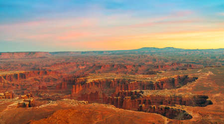 View from Grand View Point Overlook at sunset. Canyonlands National Park. Utah. USA 版權商用圖片
