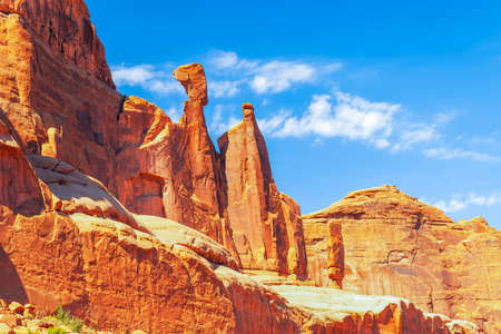 Queen Nefertiti Rock at Park Avenue section. Famous classic landmark.Arches National Park. Moab. Utah. USA 版權商用圖片