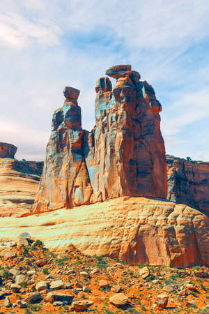 The rock formation known as the Three Gossips in the Courthouse Towers section. Arches National Park. Moab. Utah. USA