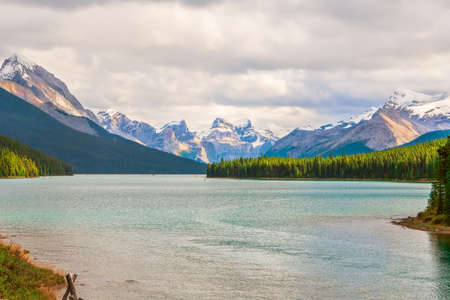 View of Maligne Lake and surrounding mountains in Jasper National Park.Alberta. Canada