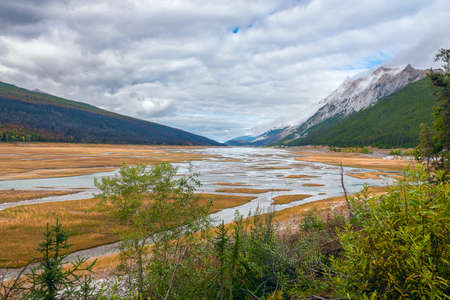 Low water level in Medicine Lake. Jasper National Park. Alberta. Canada 版權商用圖片