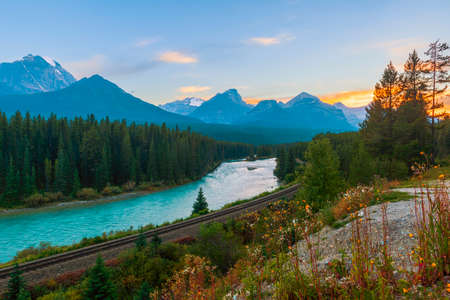 Morant's Curve at sunset. Bow Valley Parkway. Banff National Park. Alberta. Canada