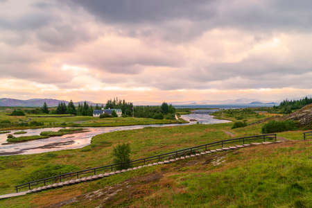 Oxara river in Thingvellir National Park in Iceland's Golden Circle. Southwestern Iceland 版權商用圖片