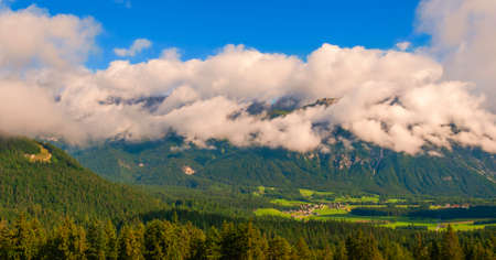 Panoramic view of a small alpine village in state of Tyrol. Austria
