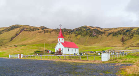 Rural Reynis Church (Reyniskirja) near the farm Reynir along the road to Reynis Beach Reynisfjara (Reynisfjara) near the village of Vik in southern Iceland