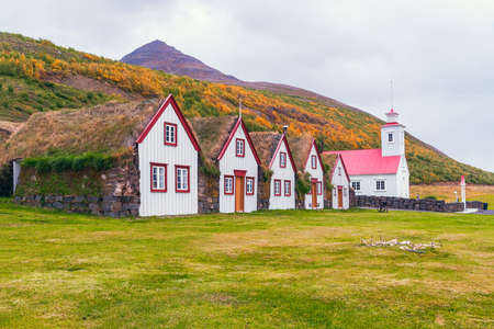 Laufas Museum and heritage site. Turf Houses and St. Paul church. Laufas. Iceland