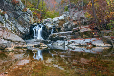 Scott's Run waterfall in autumn. Scott's Run Nature Preserve. Fairfax County. Virginia. USA
