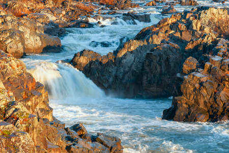 Part of the Great Falls of the Potomac River at winter sunrise. Virginia. USA
