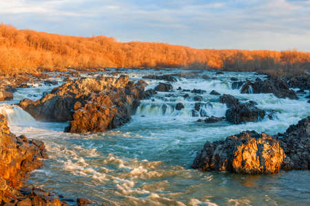 View of the Great Falls of the Potomac River on winter morning. Virginia. USA