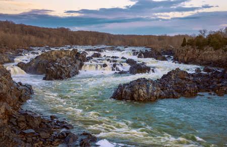 View of the Great Falls of the Potomac River at dusk. Virginia. USA