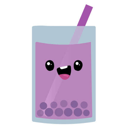 Blueberry smoothie. Vector illustration sketch. Character Cartoon. Cute Sticker. Kawaii cartoon Emoji. Blueberry yogurt. Flat cartoon illustration. happy fruits and vegetables.Cute cartoon berry.