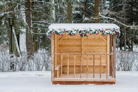 gazebo: gazebo in winter embellishments Stock Photo