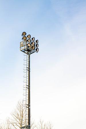 floodlights: floodlights to illuminate the stadium Stock Photo