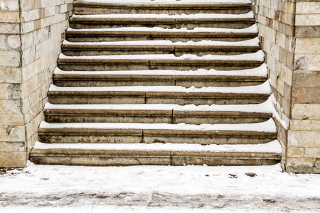 descend: Steps in the snow in winter