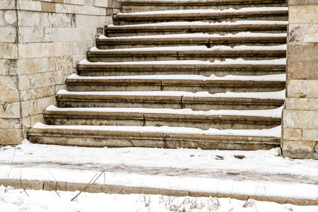 coldly: Steps in the snow in winter