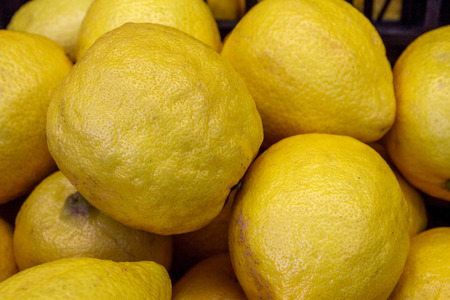 mouthwatering: Lemons in the supermarket Stock Photo