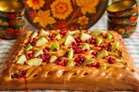 cranberries: Pie with apples and cranberries Stock Photo