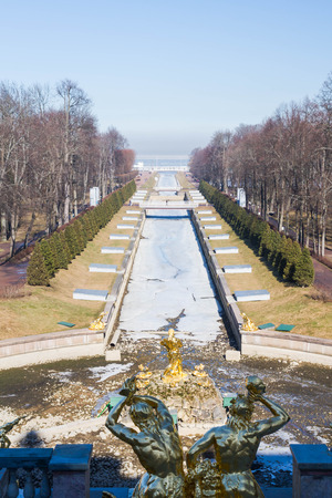 city park fountain: Russia, St. Petersburg, city of Petrodvorets, March 16, 2015. Samson fountain in the city Park of Peterhof.