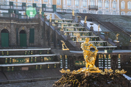 petrodvorets: Russia, St. Petersburg, city of Petrodvorets, March 16, 2015. Samson fountain in the city Park of Peterhof.