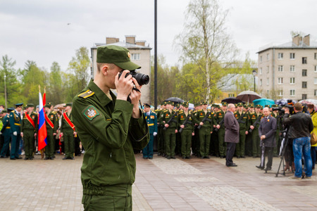 may 9: Saint Petersburg city, Lomonosov, Russia, May 8, 2015. The opening of the Stella and the laying of wreaths at the memorial day on may 9. Editorial