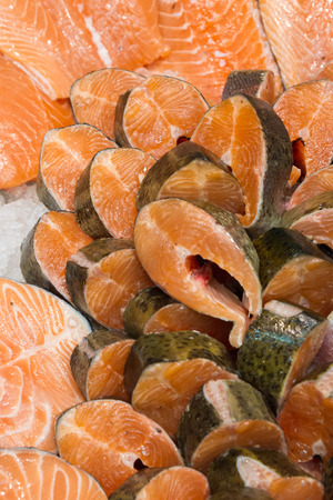 edible fish: Red fish on store shelves