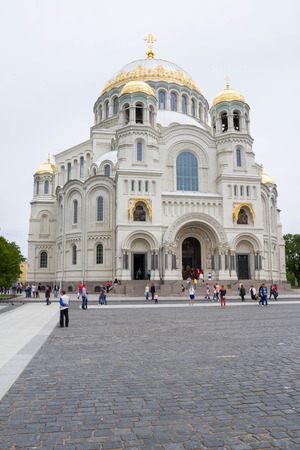 st nicholas cathedral: St. Petersburg, Kronshtadt, Russia, June 14, 2015. Naval St. Nicholas Cathedral in Kronstadt. Editorial
