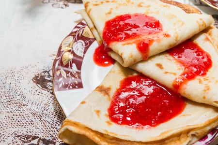 strawberry jam: Pancakes with fresh strawberry jam for Breakfast