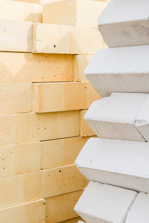 warehouse building: Bricks stacked in a warehouse building base