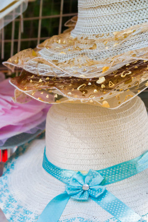 clothes interesting: Summer colorful womens hats decorated with ribbons and stones