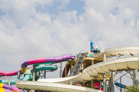 water park: Evpatoria, Crimea, Russia, September 1, 2015. The Banana Republic water Park under the open sky.
