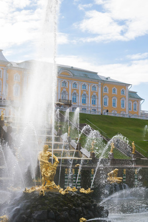 workmanship: Russia, St. Petersburg, city of Petrodvorets, October 10, 2015. Grand Palace fountains in the Park of the town of Peterhof. Editorial