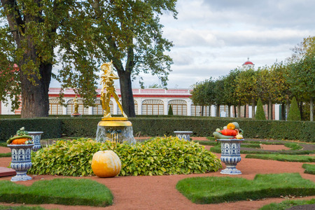city park fountain: Russia, St. Petersburg, city of Petrodvorets, October 10, 2015. Autumn composition of vegetables at the fountain in the park of Peterhof Editorial