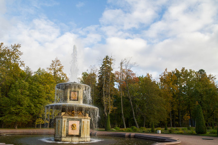 petrodvorets: Russia, St. Petersburg, city of Petrodvorets, October 10, 2015. Fountains in the park in autumn Peterhof