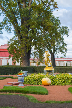 petrodvorets: Russia, St. Petersburg, city of Petrodvorets, October 10, 2015. Autumn composition of vegetables at the fountain in the park of Peterhof Editorial