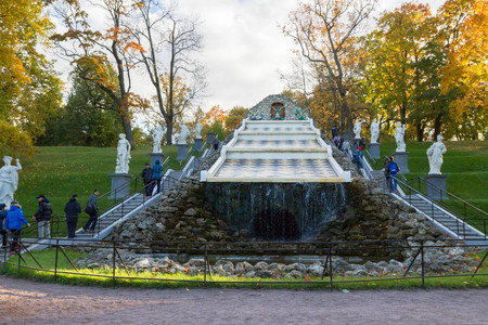 petrodvorets: Russia, St. Petersburg, city of Petrodvorets, October 10, 2015. Fountain chess board in the autumn in the Park Peterhof Editorial