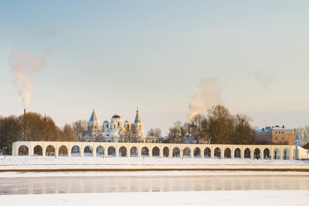 veliky: The city of Veliky Novgorod, Russia, 5 January, 2016. The waterfront opposite the Novgorod Kremlin in winter