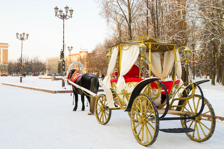 veliky: the city of Veliky Novgorod, Russia, 5 January, 2016. Horses drawn sleigh and carriage in winter