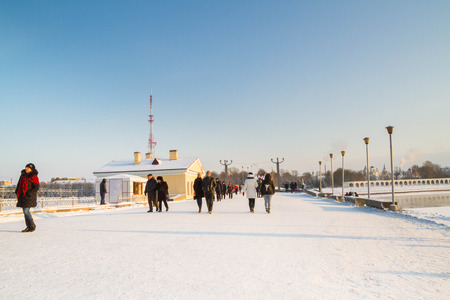 coldly: the city of Veliky Novgorod, Russia, 5 January, 2016. The territory of the Novgorod Kremlin in winter
