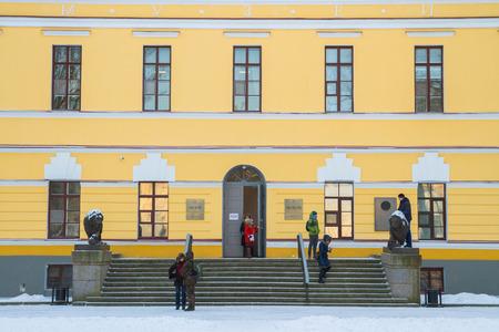 veliky: the city of Veliky Novgorod, Russia, 5 January, 2016. The territory of the Novgorod Kremlin in winter