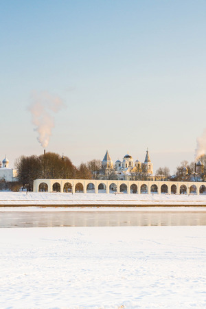 coldly: The city of Veliky Novgorod, Russia, 5 January, 2016. The waterfront opposite the Novgorod Kremlin in winter